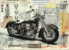 Harley Davidson bike Fine Art PRINT Illustration Gift Collage Mixed Media Painting By Mirel E.Ologeanu