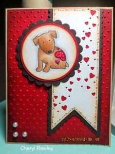 Handmade dog Valentine card created by Cheryl Rowley. Nice antiquing. #HandmadeCard, #HomemadeCard, #HandcraftedCard, #Card, #CardIdea, #Dog, #Canine, #DogCard, #CanineCard, #HandmadeDogCard, #HandmadeCanineCard, #DoggyCard, #PuppyCard, #Doggy, #Puppy, #HandmadeDoggyCard, #HandmadePuppyCard, #DogValentine, #PuppyValentine, #HandmadeValentineCard, #ValentinesCard, #HandmadeValentinesCard, #ValentinesDay, #ValentinesDayCard, #HandmadeValentinesDayCard, #LoveYouCard