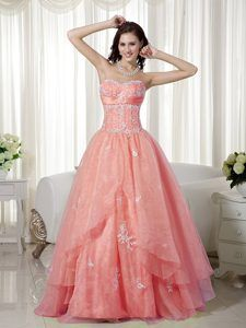 Pretty Watermelon Red A-line Sweetheart Prom Court Dress with White Appliques
