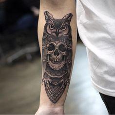 skull owl tattoo - Pesquisa Google