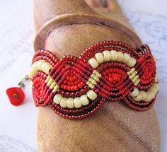 RESERVED for Tracy  Red Red Roses Beaded by KnotJustMacrame