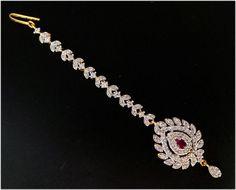 Simulated Cubic Diamond Ruby Designer Bridal Mang-Tikka Gold Plated 71 MT UK #DNJ #MangTikka