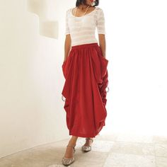 Helen Skirt / Pants - Red cotton convertible M or L :  cocoricooo - etsy