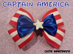 Captain America Hair Bow Avengers Disney by bulldogsenior08, $8.50