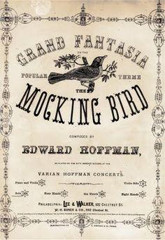 Old Sheet Music Cover - Mocking Bird