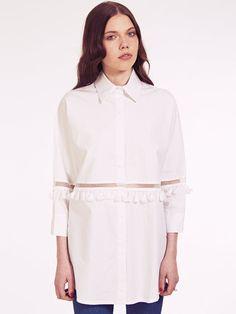 Dahlia Alana Oversized Tassel Shirt with Sheer Panel | Dahlia