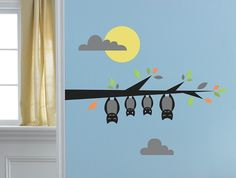 Halloween Hanging Bat Wall Decals, Wall Stickers and Wall Decor
