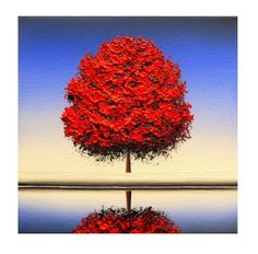 ORIGINAL Oil Painting Textured Red Tree Painting Red by BingArt