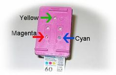 Refilling HP PhotoSmart type #60 color cartridge