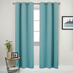 Nicetown Window Treatment Thermal Insulated Solid Grommet Blackout Curtains / Drapes for Bedroom (Set of 2 Panels,42 by 84 Inch,Turquoise) * For more information, visit image link.