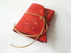 Red Leather tobacco case pouch Hand dyed and by SpiroSpiritLeather