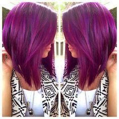 Long Purple Hair, Purple Bob, Plum Hair, Dark Hair, Violet Hair, White Hair, Thin Hair Haircuts, Bob Hairstyles For Fine Hair, Bob Haircuts