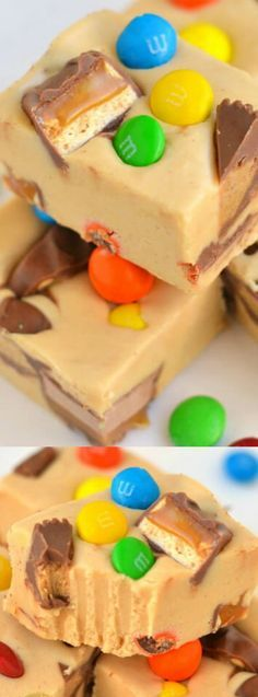 This Peanut Butter Candy Bar Fudge from Mom on Timeout is the perfect way to use up leftover holiday candy! It's creamy, peanut buttery, and oh-so dreamy! It would be an absolutely adorable sweet treat on your holiday cookie trays. Just use Christmas colored M&Ms for a festive look!