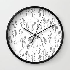 Cactus in White Palette Wall Clock