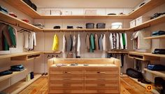 Beautiful, chic, modern, wooden walk-in wardrobe with drawer island and complete surrounding racksm shelves and hangers. WHITE TREE wardrobe by Art-i-Chok. Walk In Wardrobe, Walk In Closet, Room Closet, Closet Space, Creative Closets, Wardrobe Drawers, Artwork For Home, Dream Closets, Luxury Interior