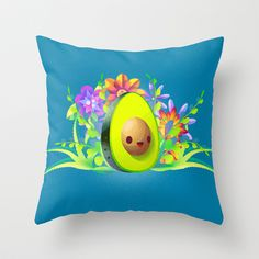 Everyone Loves Avocado! Throw Pillow by carlos lerma - $20.00