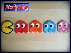 Pac Man and Ghosts pixel art hama perler by Pix'L'and Pac Man, Pearler Beads, Fuse Beads, Hama Beads Patterns, Beading Patterns, Cute Crafts, Bead Crafts, Pixel Pacman, Pixel Art