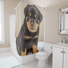 Rottweiler puppy portrait shower curtain - portrait gifts cyo diy personalize custom