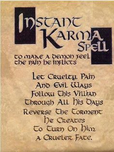 """Book of Shadows: """"Instant Karma Spell."""" by sharonsparkles Book of Shadows: """"Instant Karma Spell."""" by sharonsparkles This image has get. Witch Spell Book, Witchcraft Spell Books, Magick Spells, Healing Spells, Voodoo Spells, Wiccan Protection Spells, Demon Spells, Wicca Runes, Blood Magick"""