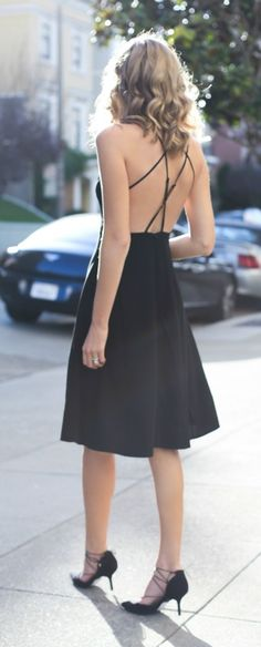 day to night black slip dress, lace-up heels {office style}