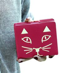 GBSELL New Fashion Women Kitty Cat Embroidery Leather Wallet Button Clutch Purse Lady Short Handbag Bag (Hot Pink)