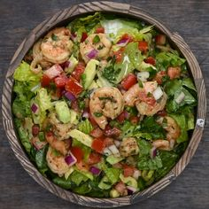 Shrimp and Avocado Taco Salad Recipe by Tasty NOTE: omit salt on top - came out really salty first time around Taco Salad Recipes, Fish Recipes, Seafood Recipes, Mexican Food Recipes, Dinner Recipes, Cooking Recipes, Healthy Recipes, Ethnic Recipes, Avocado Recipes