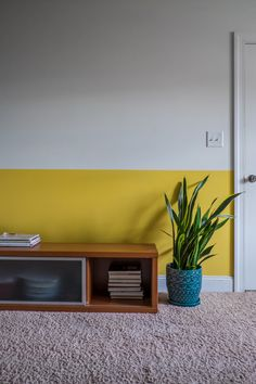 Color Blocking and mother's- in-law tongue plant -design addict mom Half Painted Walls, Decor, Wall S, Bedroom Decor, Yellow Interior, Interior, Paint Designs, Mustard Yellow Walls, Living Room Designs