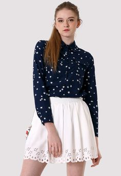 Double Pockets Stars Shirt in Navy Blue