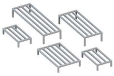 Dunnage Rack - AL-DR246012 - National Cart Co. by National Cart Co.. $93.00. Securely store products off the floor as well as permitting air flow around the entire product. Prolong package life while allowing cleaning underneath products. Dunnage rack features all welded sanitary aluminum and heavy duty tubing that provides a long, durable, rust-free life. Racks are durable, light weight, and NSF certified.