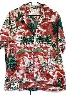 b6b2ae22 Kolekole Hawaiian Shirt Red Sailboat Palms Surfing size XL 100% Cotton Aloha  #Kolekole #