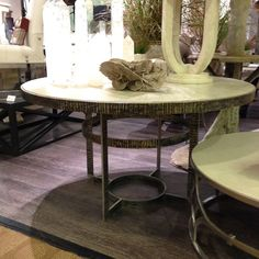 "Gorgeous style + incredible finishes + ""made in America"" craftsmanship?  All that goodness rolled up in one package is what you get at Tritter Feefer!  I adore the contrast of the ""sand dune"" wood top and the patinated forged steel base.  Tritter Feefer, IHFC IH402 Interhall #hpmkt"