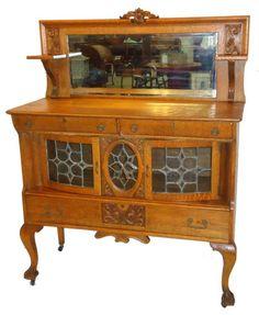Ornate Oak Server : Lot 90B