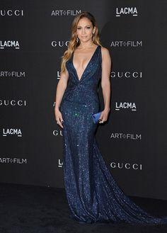 Jennifer Lopez in blue Gucci gown