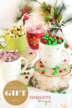 DIY Painted Holiday Mugs.  Tutorial at TidyMom.net
