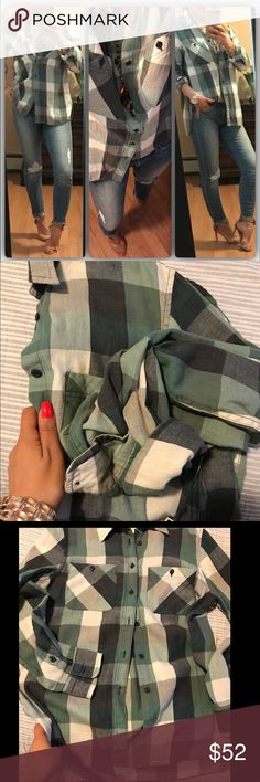 New💜Multi green plaid button down My favorite colors and brand button downs. Excellent quality. Very comfortable and beautiful year round. Modeling med Tops Button Down Shirts