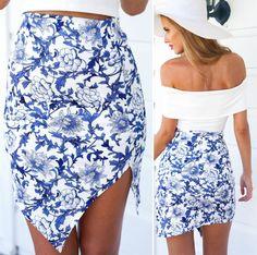 Blue Floral Print Asymmetrical Skirt
