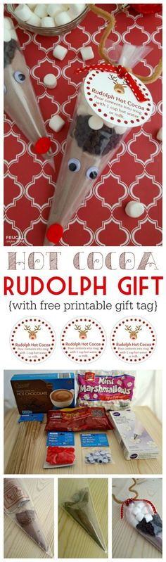 Rudolph Hot Cocoa with free printable gift tag and instructions GEMS widow bags Homemade Christmas, Diy Christmas Gifts, Christmas Holidays, Christmas Ideas, Christmas Treat Bags, Christmas Games, Craft Gifts, Diy Gifts, Food Gifts