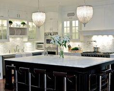 White Kitchen Marble Backsplash