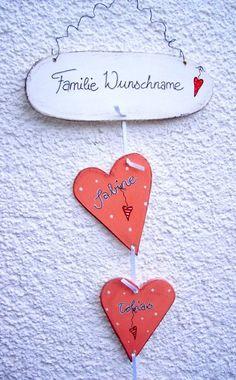 Namensschild - Türschild - Hochzeit - Geburt von Kunst-Werkstatt auf DaWanda.com