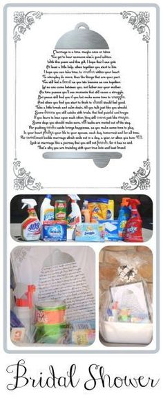 This is an amazing free printable poem that uses the names of cleaning products throughout, and gives marriage advice at the same time.  It's great idea to give along with a basket of cleaning supplies for a wedding reception or bridal shower gift.