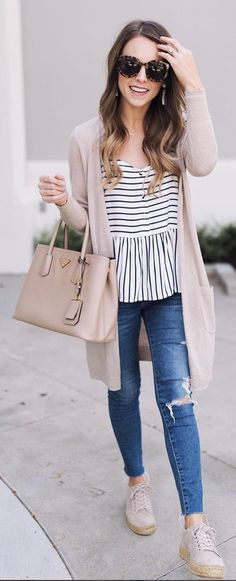 #summer #outfits  Blush Cardigan + White Striped Top + Ripped Skinny Jeans