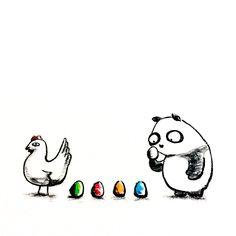 【一日一大熊猫】 2015.5.21 鶏卵は茶色と白では栄養や味に 特に差はないのかなぁ。 #パンダ #鶏卵 http://osaru-panda.jimdo.com