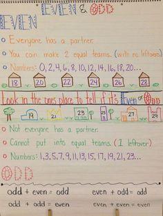 Odd and Even Anchor Chart Second Grade Teacher, Third Grade Math, Grade 2, Math Charts, Math Anchor Charts, Fun Math, Math Activities, Math Place Value, Math Lesson Plans