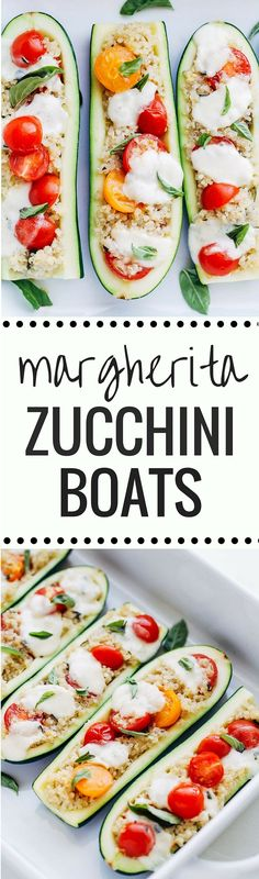 Margherita Zucchini Boats- a light and healthy take on the delicious Margherita Pizza. One serving has just 260 calories + 16 grams of protein! (gluten-free + vegetarian with vegan option) Healthy Vegetable Recipes, Best Vegetarian Recipes, Lunches And Dinners, Meals, Zucchini Boats, Comida Latina, Healthy Eating, Clean Eating, Cooking Recipes