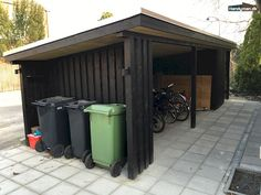 Byg selv et skur - lige som du vil ha' det Wood Storage Sheds, Wood Shed, Bike Storage, Bin Shed, Outdoor Firewood Rack, Bike Shelter, Carport Garage, Pergola Carport, Carport Designs