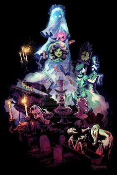 13 Great Pieces of Haunted Mansion Fan Art - Neatorama (Halloween Illustration The Nightmare Before Christmas) Disney Nerd, Arte Disney, Disney Fan Art, Disney Love, Disney Magic, Disney Parks, Disney Style, Disney Halloween, Halloween Art