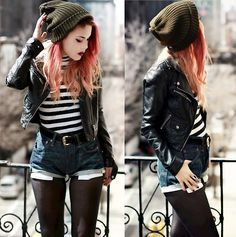 Levi's 501 Take Two  (by Lua P) http://lookbook.nu/look/4734425-Levi-s-5-1-Take-Two-Levi-s-Levis-Shorts-Asos-Beanie    Cool casual chic outfit. Striped shirt + jean short + tights + leather jacket + slouchy hat