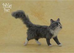 Dollhouse Miniature Walking Long-haired Cat by Paizley Pawz *OOAK