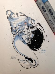 MerMay 13 05 2016 by redisoj Mermaid Drawings, Mermaid Tattoos, Mermaid Art, Octopus Tattoos, Mermaid Sketch, Dr Tattoo, Tattoo Ink, Art Sketches, Art Drawings