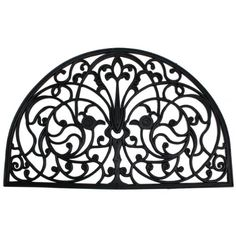 J & M Home Fashions Wrought Iron Half Round Natural Rubber Doormat, 24-Inch by 36-Inch
